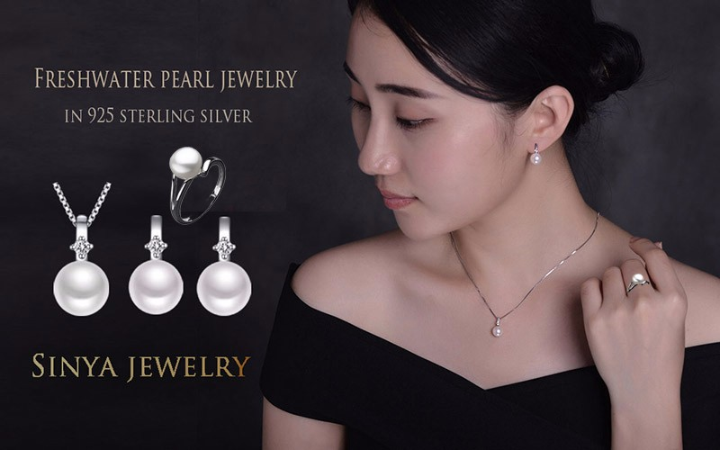 Синя Стерлингового Серебра ювелирные наборы для женщин с пресноводный жемчуг серьги ожерелье и кольцо лучший подарок для любителей и мама