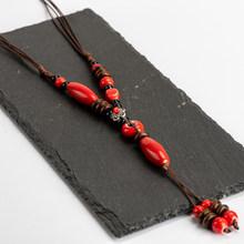 Heaert Sharp Gốm Sứ bead Vòng Cổ Trung Quốc phong cách Tua dây chuyền cổ điển gốm hạt phụ nữ dây chuyền # IY268(China)