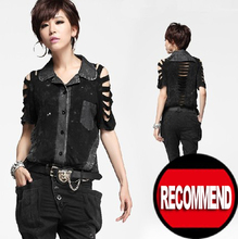 Fashion Visual Kei Punk Gothic Nana ROCK cobweb skull shirt Big Size Fashion Short Sleeve loose T Shirt(China (Mainland))