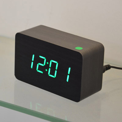 Sounds control novel alarm clocks ,13color LED Display,office wood wooden desk clock,stylish table clock of gift 40pcs DHL(China (Mainland))
