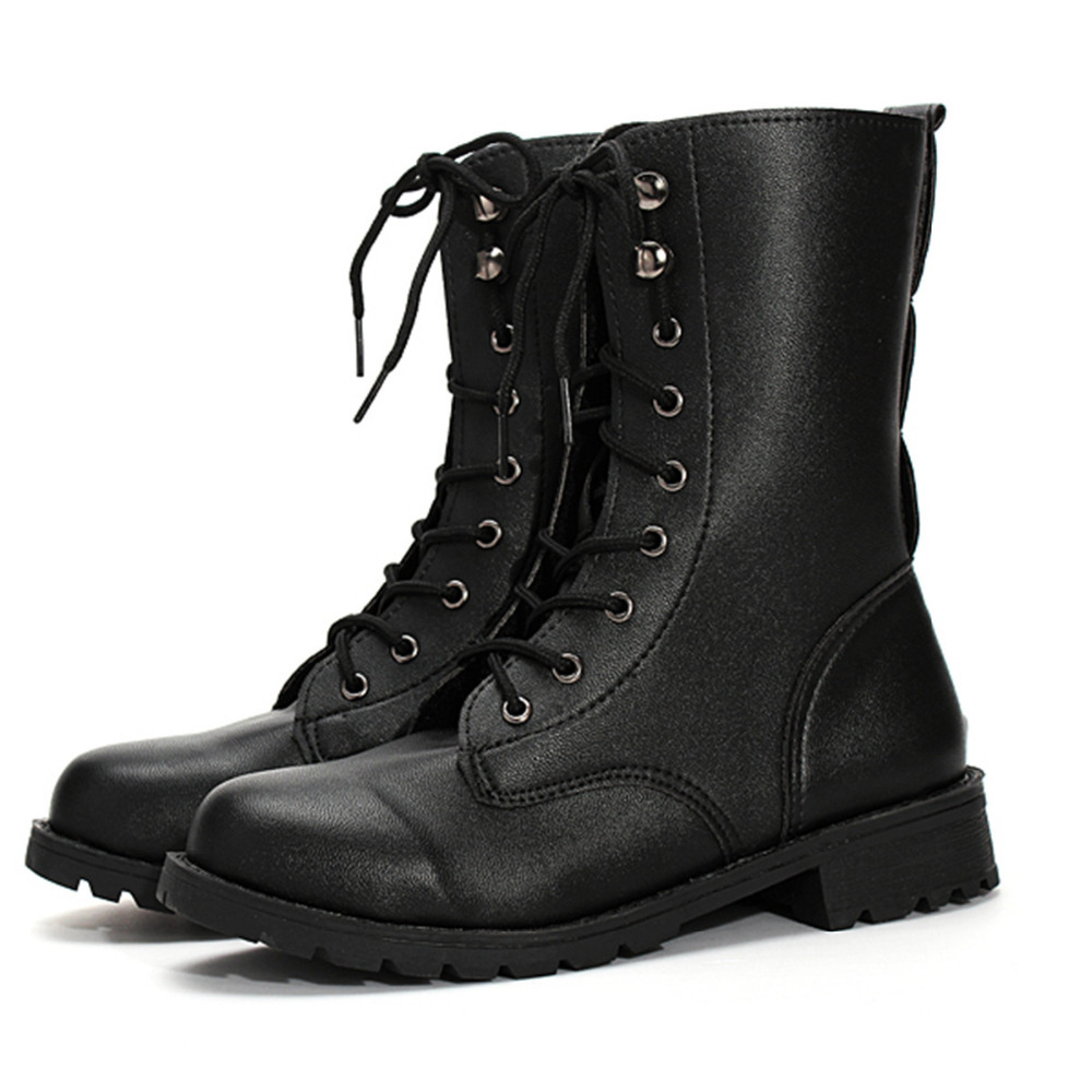 2015 Woman Motorcycle Boots Vintage Lady Combat Army Martin Boots Punk Goth Ankle Shoes Mid-Calf Leather Women Short Boots New(China (Mainland))