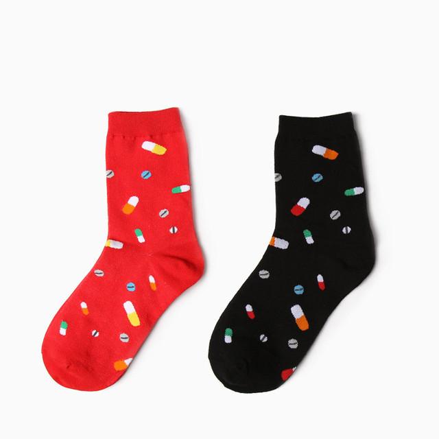 2015 новый MSKOOK новинка нейтральный мультфильм носки творческих женщин и мужчин красочные капсулы в носки Harajuku хлопок носки