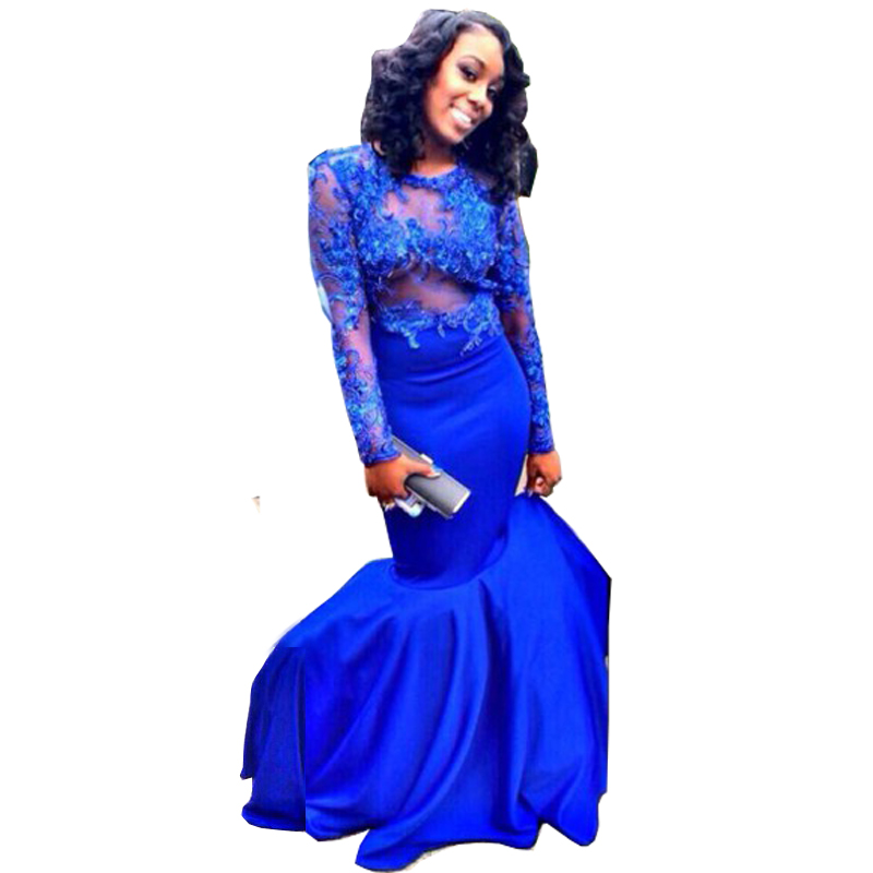 Popular Long Lace Royal Blue Mermaid Prom Dresses-Buy Cheap Long ...