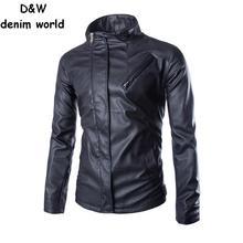winter 2015 Slim brand new men's leather jacket zipper solid color men outdoor Casual Coat collar locomotive M ~ XXL JACKET#5233(China (Mainland))