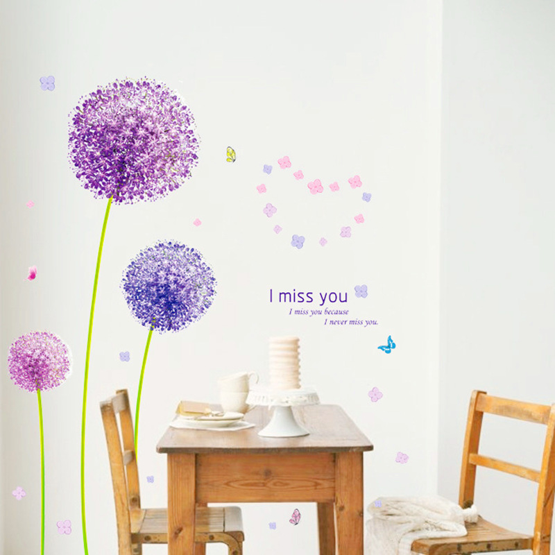 Purple Flying Dandelion Living Room Bedroom Wall Sticker TV Wall Stickers For Kids Rooms Home Decoration Accessories Home Decor(China (Mainland))