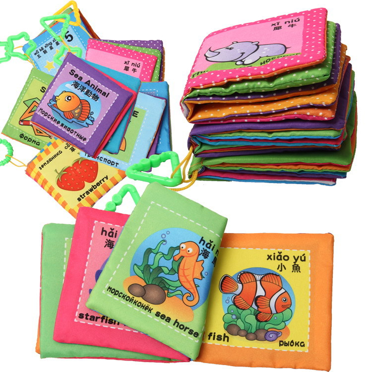 Гаджет  10 Styles Mutifunction Learning&Education English&Russian Language Baby Cloth Book Toy 0-12 Months Baby Rattles Colorful Toys   None Игрушки и Хобби