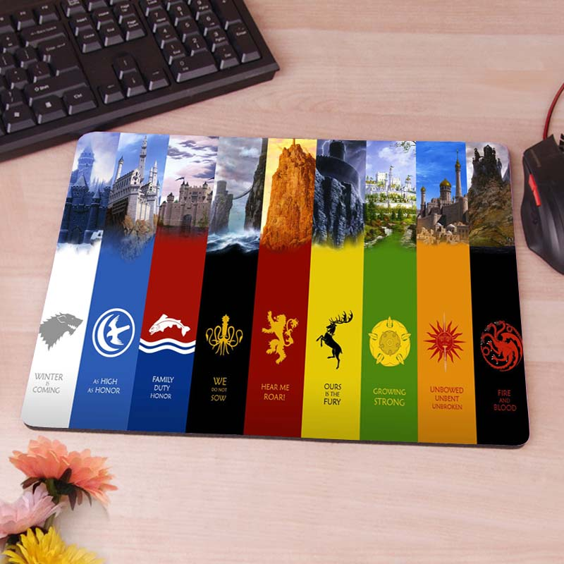game of thrones Anti-Slip Rectangle Mouse Pad Customized Supported 220mmx180mmx2mm<br><br>Aliexpress