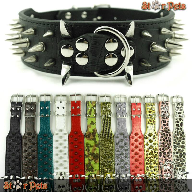 """2inch Wide 12 Colors Sharp Spiked Studded Horn Nails Leather Dog Collars 15-26"""" For Pitbull Mastiff More Breeds 4 Sizes(China (Mainland))"""