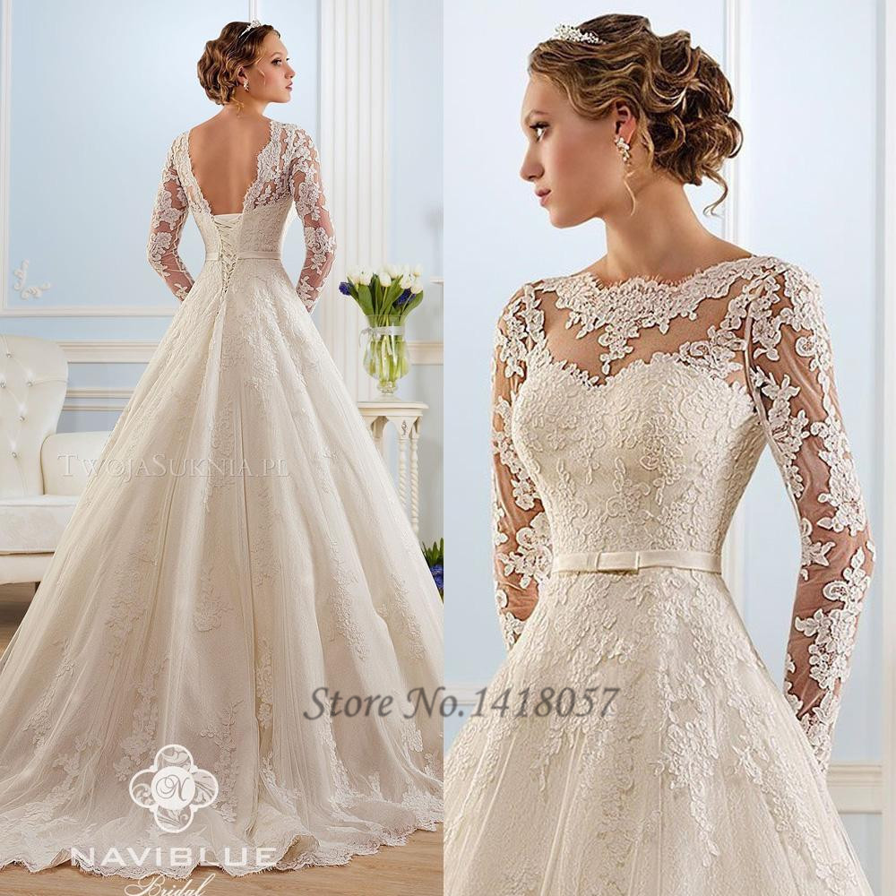 Buy new white lace vintage wedding dress for Lace wedding dresses with sleeves kleinfelds