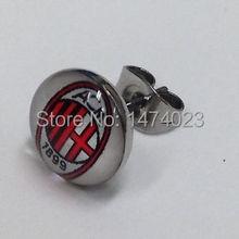 Wholesale mix logo AC Milan Soccer Club Logo Ear Studs, accept OEM of client's design logo Ear Rings earrings ear stud 60pcs/lot