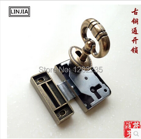 Retro Drawer Antique bronze counter cabinet locks Shift Lock Chinese antique locks Furniture Hardware Wholesale(China (Mainland))