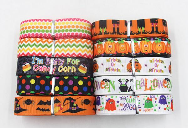wm 7/8inch 22mm mix ribbon 10 item Halloween series 10 yards/roll grosgrain ribbon free shipping()