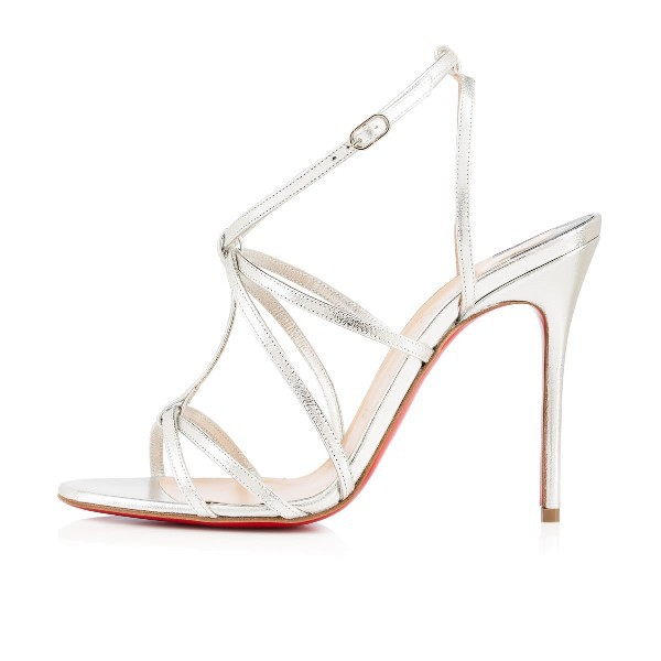 2015 Fashion Brand Red Bottom Youpiyou Silver 100mm Leather Womens Bridal Sandals Size EUR36-41