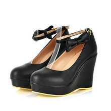 New spring autumn Woman Wedges Shoes Pointed Toe Patent Leather Shoes Woman Pumps Size 34 39