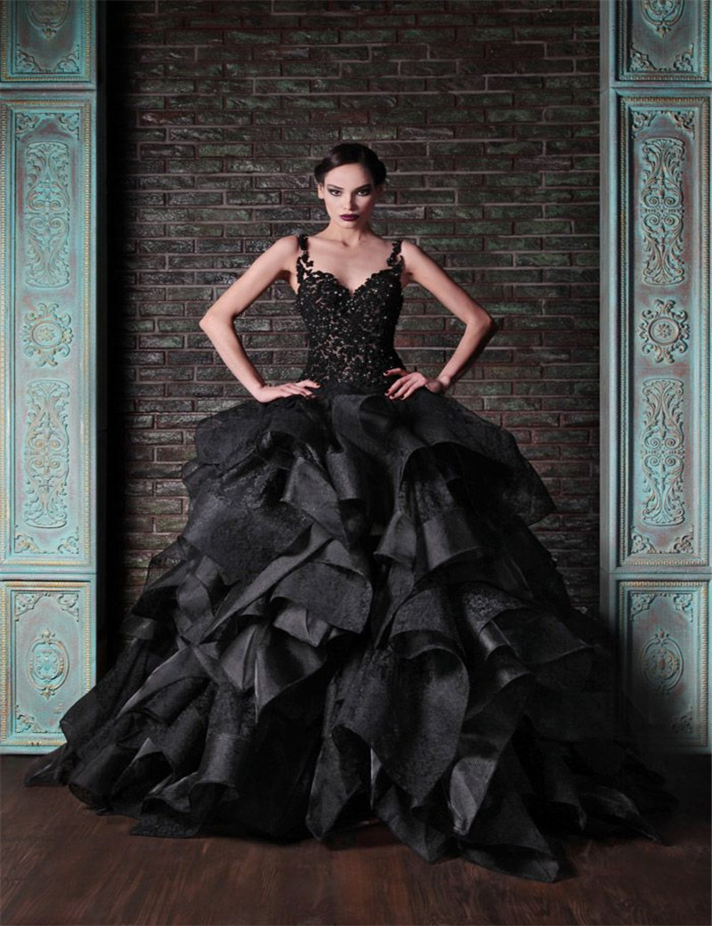 Gothic wedding shop - Sexy Sweetheart Floor Length Tired Off Shoulder Ball Gowns Wedding Dress Black Bridal Gowns Limited Black Gothic Wedding Dresses