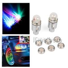 2pcs Car Tire Tyre Wheel LED Valve Cap Stem Lights Colorful Flashing Tyre Valve Cap LED Light Lamps For Car Motorcycle Bike