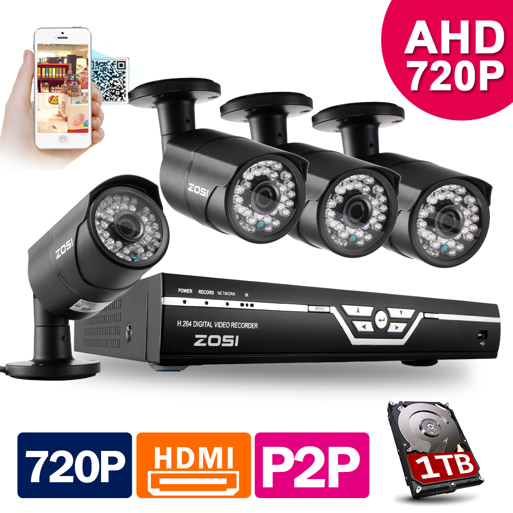 ZOSI 8CH CCTV System 720P DVR 4PCS 1500TVL IR Weatherproof CCTV Camera Home Security System Video Surveillance Kits 1TB HDD<br><br>Aliexpress