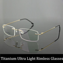 Women and Men Prescription Spectacles Light Rimless Optical Glasses Frame with Clear Lenses