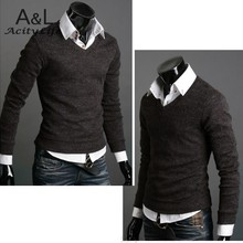 Top Sale! 2015 New Mens Premium Stylish Casual Slim Fit V-neck Sweater Jumper Tops Men's Pullovers Slim 34(China (Mainland))