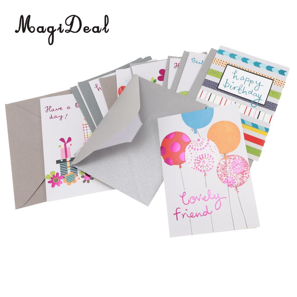 9pcs Cute Happy Birthday Greeting Card with Envelopes Kids Gift Party Favors
