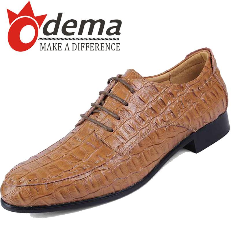 ODEMA 2015 Genuine Leather Men Oxfords Shoes Fashion Casual Flats Lace Mens Loafers