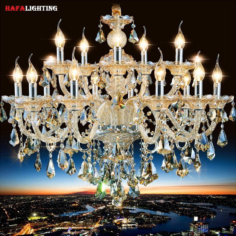 Free Shipping Chandelier Luxury Modern Crystal Living Room Champagne Import Crystal Chandelier Lighting Lusters de Cristal(China (Mainland))