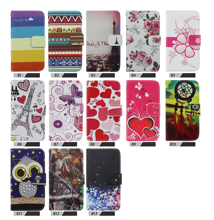Wallet Phone Bag For Samsung Galaxy Win GT I8552 I8550 Print Leather Case With Stand 2 Card Holders 1 Bill Site free shipping(China (Mainland))