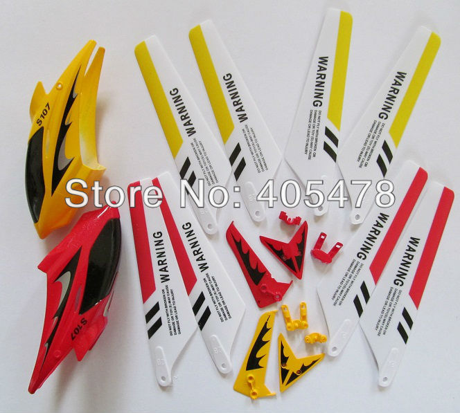 Syma S 107 G main blades head cover canopy tail decorations rc parts 22cm S107G 3ch R/C Helicopter RC plane S107(China (Mainland))