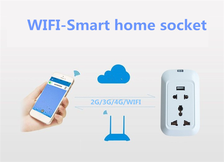 Smart Home Remote WIFI USB Smart Socket,Support IOS and Android UK,US,EU Phone Controlled  Wireless Power Strip Socket (China (Mainland))