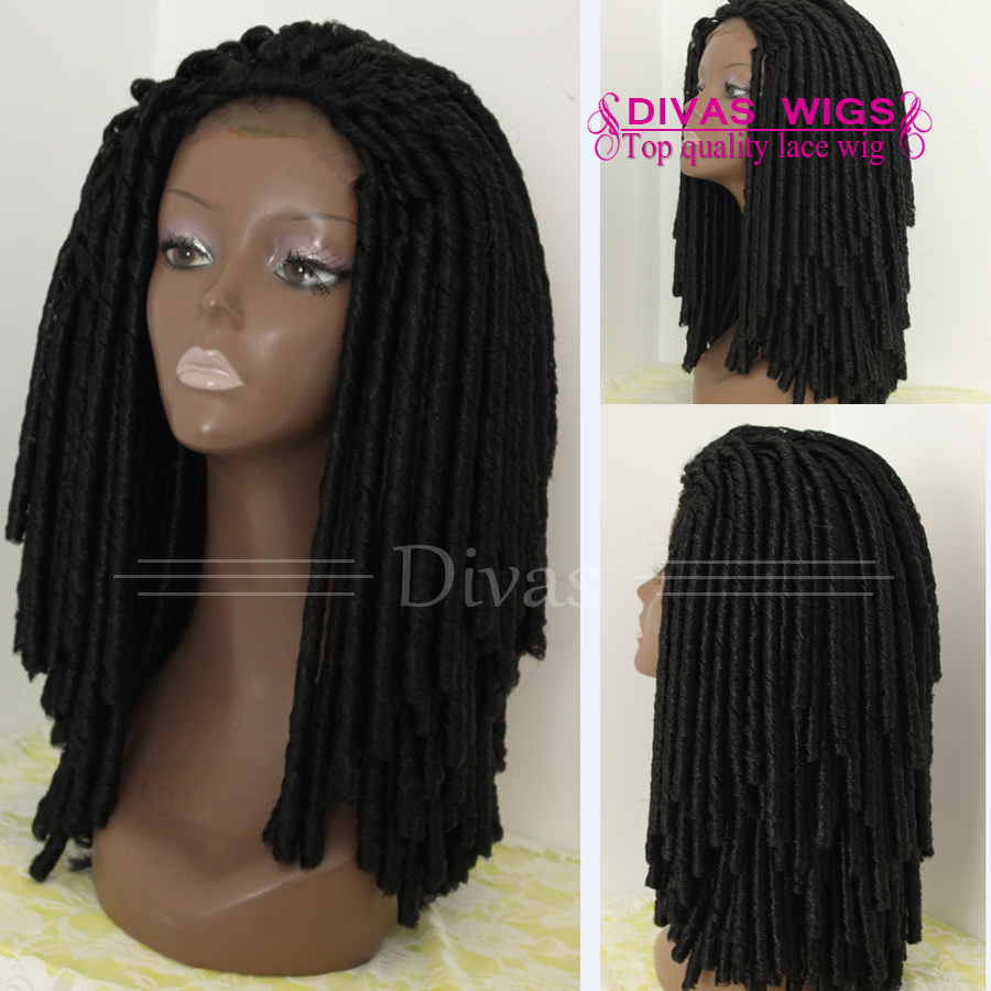 New style fashion shoulder length braided lace front wig Synthetic Micro Faux Locs Wig Braided Synthetic wig for black women<br><br>Aliexpress