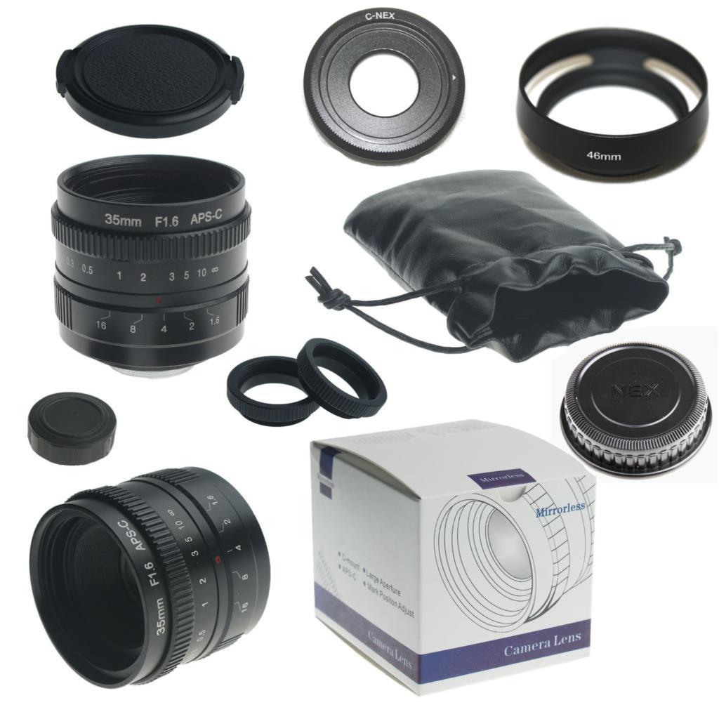 Black 35mm f1.6 APS-C Sensor CCTV Micro Camera Lens for Sony + C to NEX adapter + Lens hood + macro ring*2 + lens cap<br><br>Aliexpress