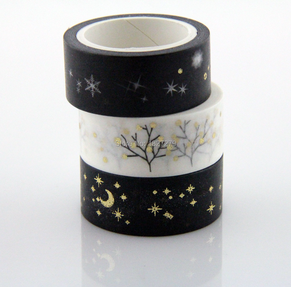 Golden Silver Hot Sale Japanese Masking Sticky Trim Labs Gift Moon Adhesive Washy Tapes 300 rolls(China (Mainland))