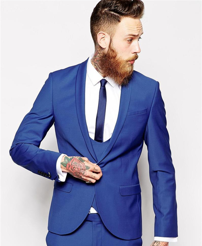 Custom Made Groom Tuxedos Business Suits Classic Black Cheap blue Blazer Men Prom Mens Tux Bridegroom Jacket Pant Tie(China (Mainland))
