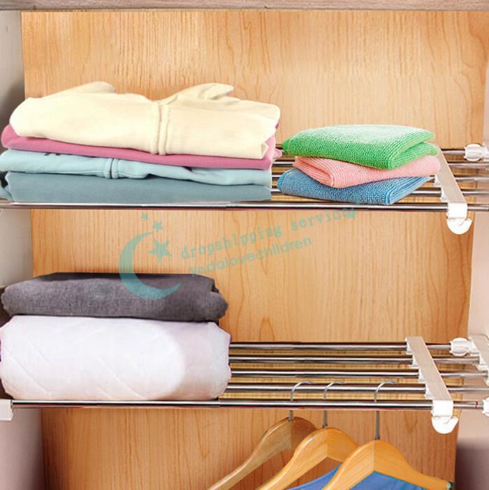 24*50cm Home Free Nail Retractable Shelf Wardrobe Closet Cabinet Partition Layered Rack Organize Storage Holder Free Shipping(China (Mainland))