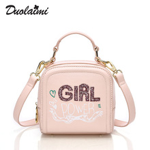 2016 SUPER CUTE Brand Fund Mini Totes PU Leather Pink Handbag Letter Gift Girl Power Dating Small Bling Embroidery Women Bags(China (Mainland))