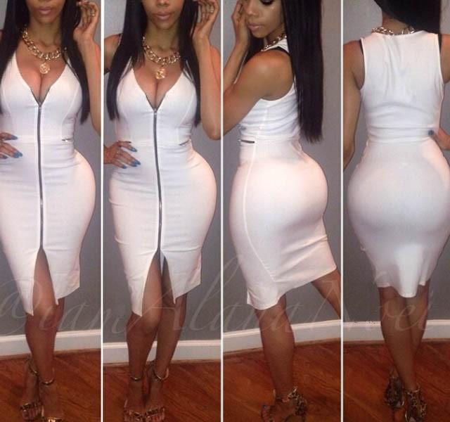 sexy all white dress party dress club dress 2015 New summer womens Star models sexy V-neck zipper Slim split party dresses(China (Mainland))