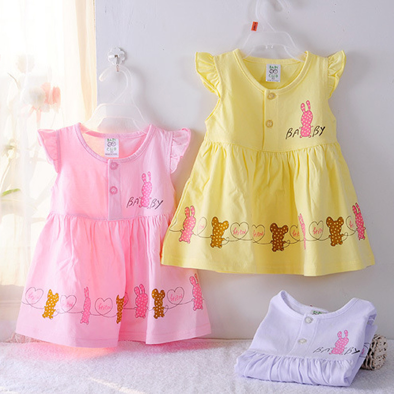 Super deal 100% cotton summer newborn baby dress cartoon baby girl sundress candy color princess dress ZL051108(China (Mainland))