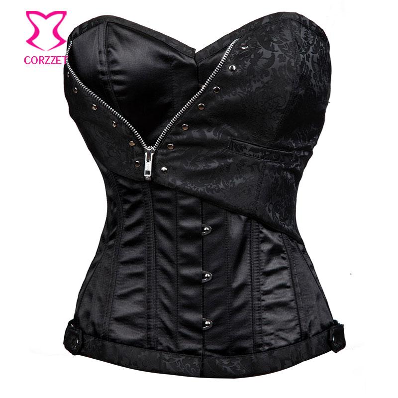 Black Satin & Brocade Waist Training Corsets Steel Boned Overbust Gothic Corset Steampunk Korsett Women Burlesque Clothing