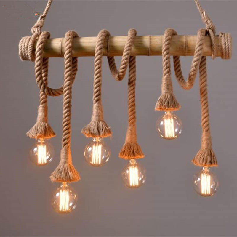 Buy Vintage Rope Bamboo Pendant Lights Loft Creative Persona