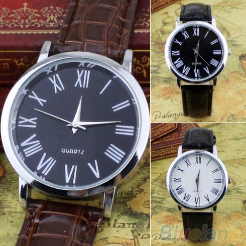 Men's Casual Business Roman Numerals Round Leatheroid Analog Quartz Wrist Watch 2JWA(China (Mainland))