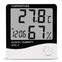 Buy Indoor Room LCD Electronic Temperature Humidity Meter Digital Thermometer Hygrometer Weather Station Alarm Clock HTC-1 for $4.74 in AliExpress store