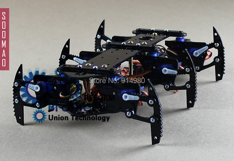 DIY black spider robot hexapod robot kit bulk,toy, steering gear +PMMA rack + Aron AA Super Glue(China (Mainland))