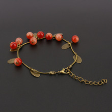 Womens Hand Chain Fashion Sweet Jewelry Vintage Retro Red Cherry Beaded Leaf Charm Bangle Bracelet 1PCS(China (Mainland))