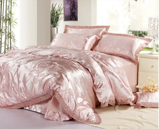 120411  free shipping  Luxurious silk home textile/ 4pc bedding set/bed sheet