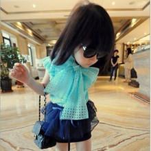 Große bowknot mädchen shirts ärmelloses sommer mädchen blusen kinder t-shirt kinder kleidung für mädchen versandkostenfrei(China (Mainland))