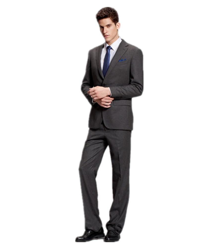 Notch Lapel Two Piece Suit Classic Fit Two Buttons Grey Tuxedo Jacket Pants Tie Costume Homme