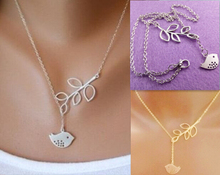 Fashion silver & gold Simple hollow Geometric bird leaf pendant Necklace for Women Jewelry for Love Gifts