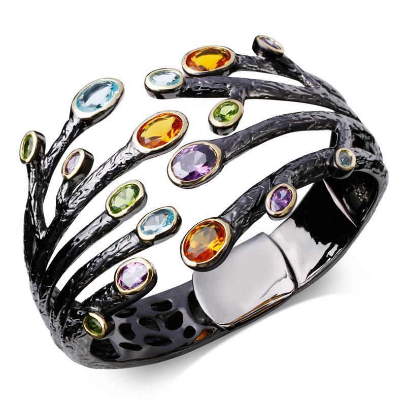 Latest 63 mm Diameter Design Cubic Zirconia Women Bangles Black Gold Plated w/ Color CZ Stone Bracelets Bridal Wedding Jewelry(China (Mainland))