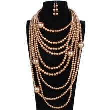 pearl necklace multi layer maxi strand necklace plastic bead long women collar necklace decorative big necklace jewelry 6050(China (Mainland))