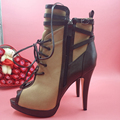 Fashion Brown Short Ankle Boots For Women Peep Toe Lace Up Platform Thin Heels Stiletto Turn